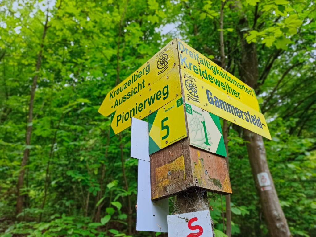 Wegweiser zum Zigeunerloch Wanderung Burg Wellheim Zigeunerloch